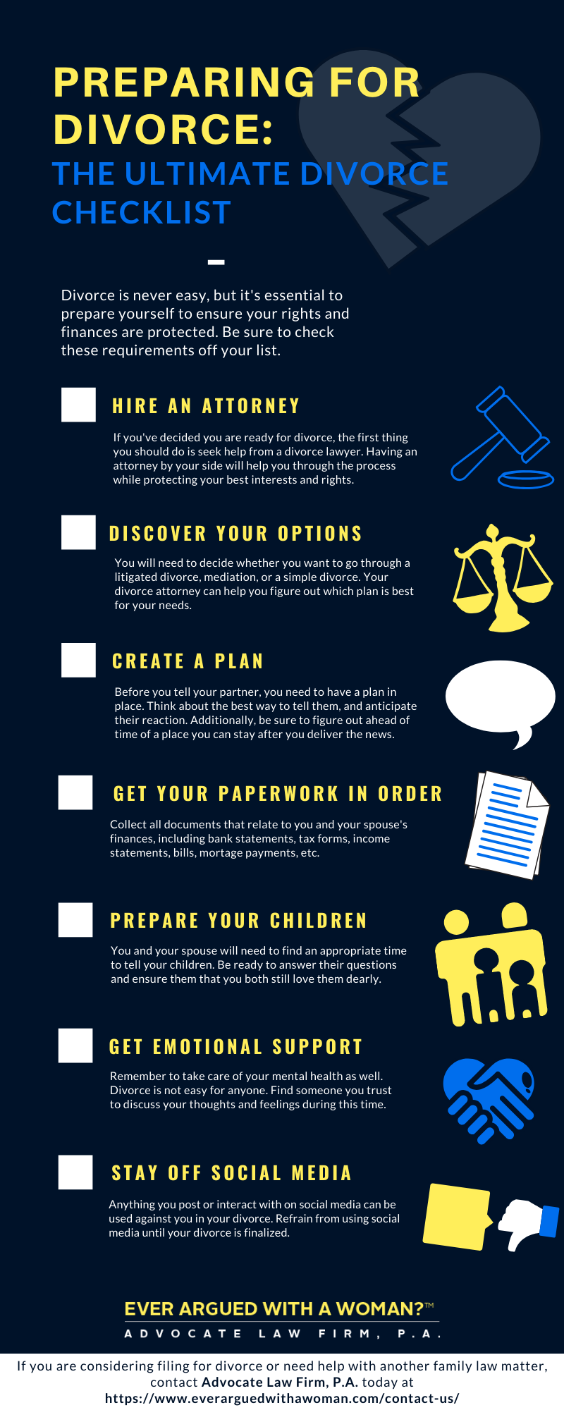 infographic about how to prepare for divorce